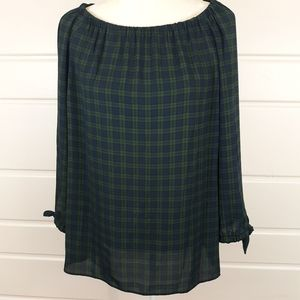 Talbots Blue & Green Plaid Off the Shoulder Top